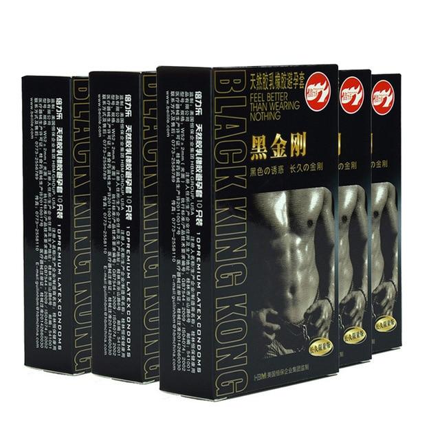 10 шт. прочный черные презервативы ультра тонкий пенис рукав длительный натуральный латекс презервативы со смазкой для мужчин контрацепции товары