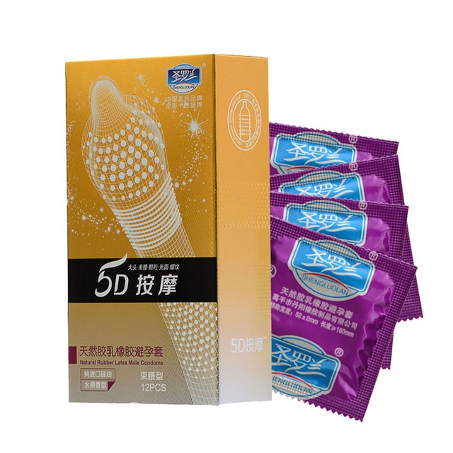24 шт./лот 5D пунктирной нить ребристые g-точка латекс презервативы контрацептивы большая частица Шипованный презерватив для Для мужчин секс товары