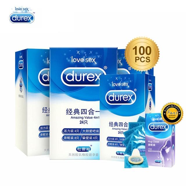 Durex презервативов 100/72/50/24 шт. коробка натурального латекса гладкой смазкой контрацепции интимные товары 4 типов презервативы для Для мужчин Секс-игрушки