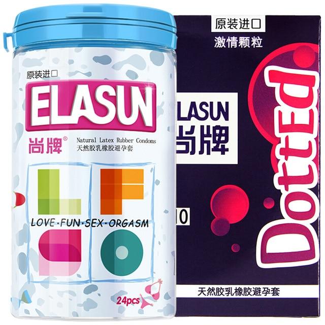 Elasun 34 шт. презервативы 6 типов ультра тонкий лед и огонь большой пунктирной презервативы для наслаждения для человека, секс безопаснее контрацепции пары