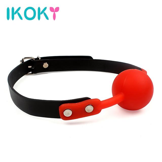 Ikoky для взрослых игры открытый рот кляп мяч для женщин пара кожа рот кляп раб оральный фиксации мягкие флирт SM Секс игрушки