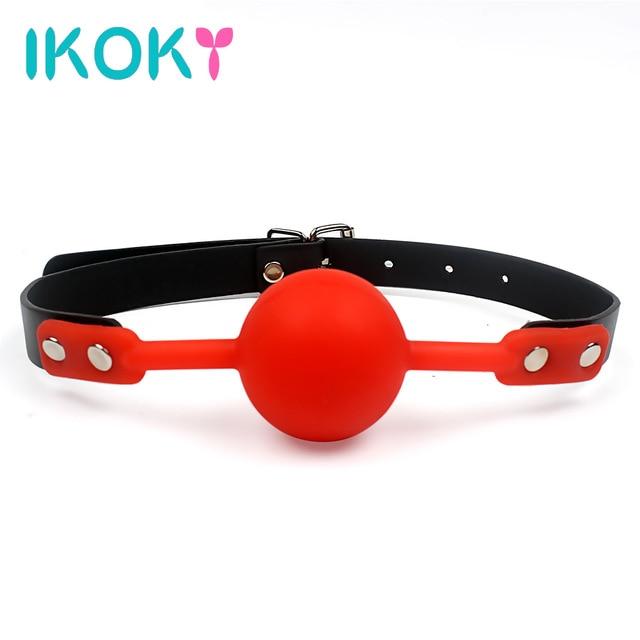 Ikoky для взрослых игры рот кляп силиконовые мяч оральной фиксации искусственная кожа группа связывание ограничения 4 цвета Секс игрушки для пары