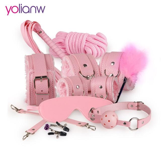 Секс Связывание комплект 10 шт. сексуальный комплект продукта Взрослые игры игрушки набор наручники Footcuff кнут Веревка повязки на глаза для пар эротические игрушки