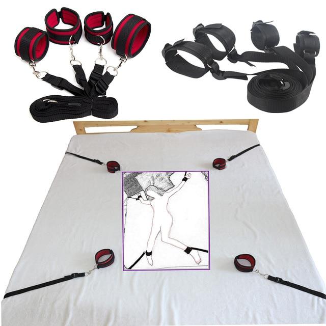Взрослые игры секс-игрушки для пар, под кровать сдержанность эротические игрушки бондаж ограничения, наручники и лодыжки манжеты кровать любовь секс-комплект