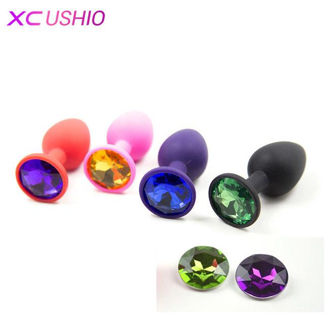 Силиконовые анальные игрушки для секса для женщин и мужчин эротическая Анальная вилки с Разноцветные Хрустальные Драгоценности взрослых бусины анус продукт Анальная пробка