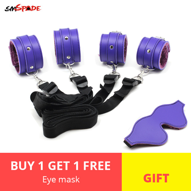 Smspade садо секс-игрушки для пар бондаж для игр для взрослых комплект удерживающих устройств наручники + лодыжки манжеты и маска bdsm повязку для секса