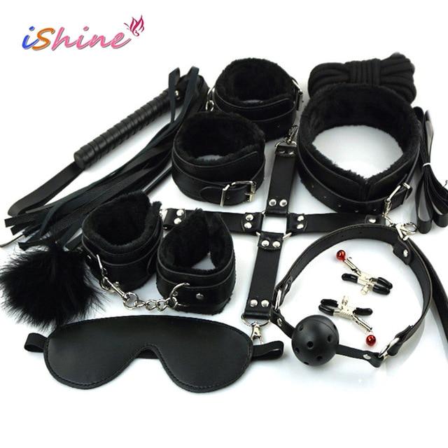 10 шт./компл. секс-игрушка для женщин женские эротические игрушки для взрослых БДСМ секс бандаж комплект наручники соск кнут секс-игрушки для пар