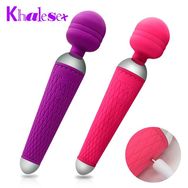 Khalesex мощные оральные клиторные вибраторы для женщин USB зарядка AV волшебная палочка, Вибратор массажер для взрослых секс-игрушки для женщин мастурбатор