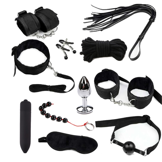 Секс-игрушки для пар экзотические аксессуары нейлон БДСМ секс бандаж комплект сексуального белья наручники кнут Анальный вибратор интимные товары