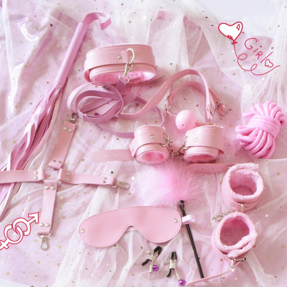 10 шт. сексуальное экзотическое женское белье аксессуары регулируемые из искусственной кожи БДСМ секс бандаж набор наручники плетёная веревка Секс игрушки для пар