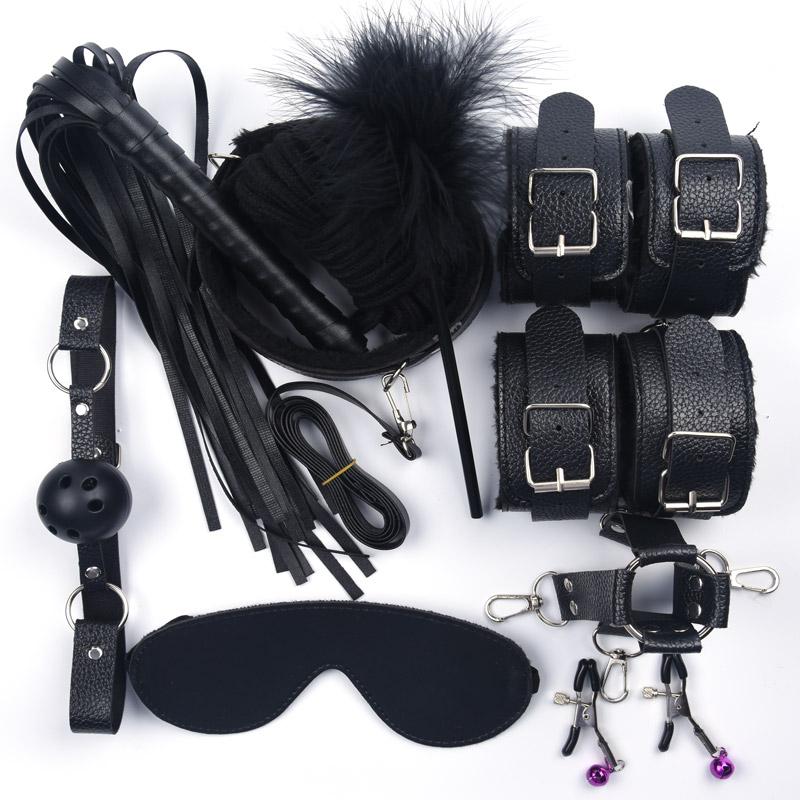 10 шт./компл. интимные игрушки для женщин кожа с плюшевыми наручниками кнут соски зажимы веревка БДСМ бондаж набор взрослые игры