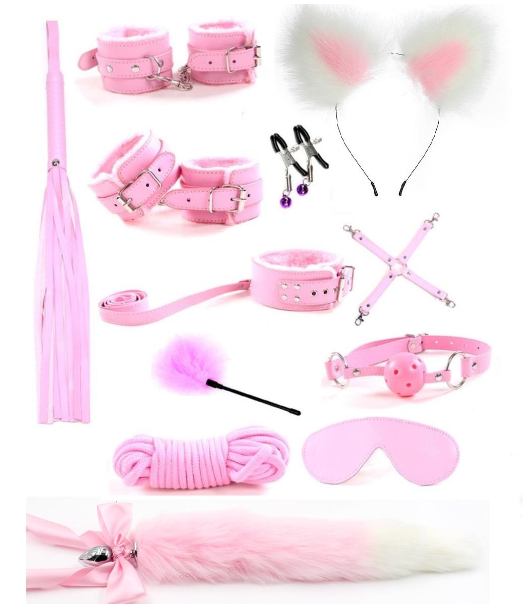 12 шт., милый металлический лисий хвост, Анальная пробка, наручники, БДСМ, бондаж, набор, зажимы для сосков, кляп, плетёная веревка, секс игрушки для пары, женщины, мужчины