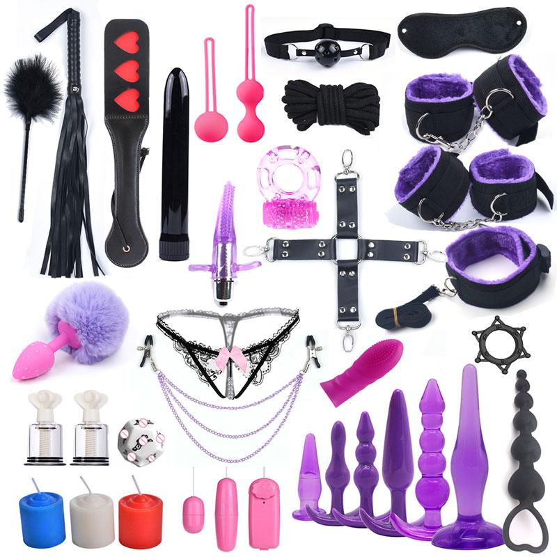 33 шт. Секс игрушки для женщин Бандаж и наручники для БДСМ для секса вибратор лисий хвост Анальная пробка сосок зажим цепи вибратор игры для взрослых