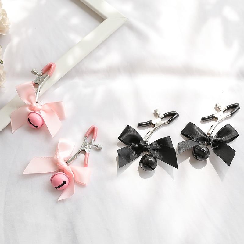 Черный и розовый женский сексуальный регулируемый зажим для сосков грудь БДСМ маленький колокольчик для взрослых Фетиш флирт подтягивание секс игрушки для пар