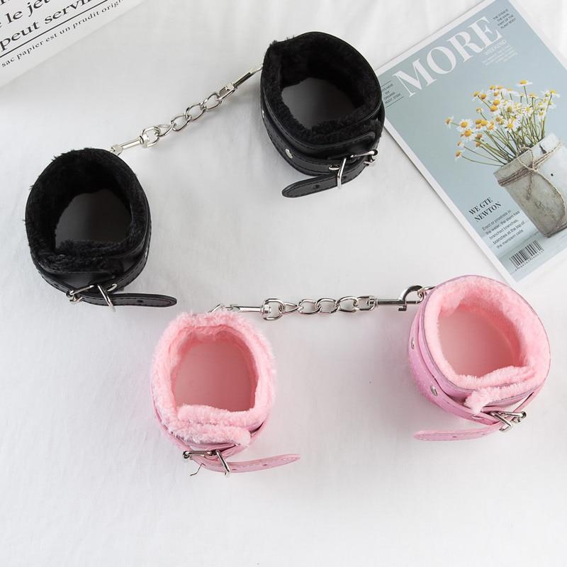 Черный Розовый SM искусственная кожа Ретро Регулируемые наручники ограничения БДСМ бондаж раб взрослые секс игрушки для пары