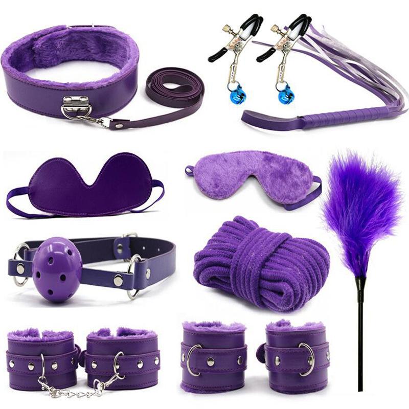 Горячие 10 шт./партия Наручники Полиция косплей инструменты игрушки для набора наручники соски зажимы кляп веревка Секс игрушки для пар