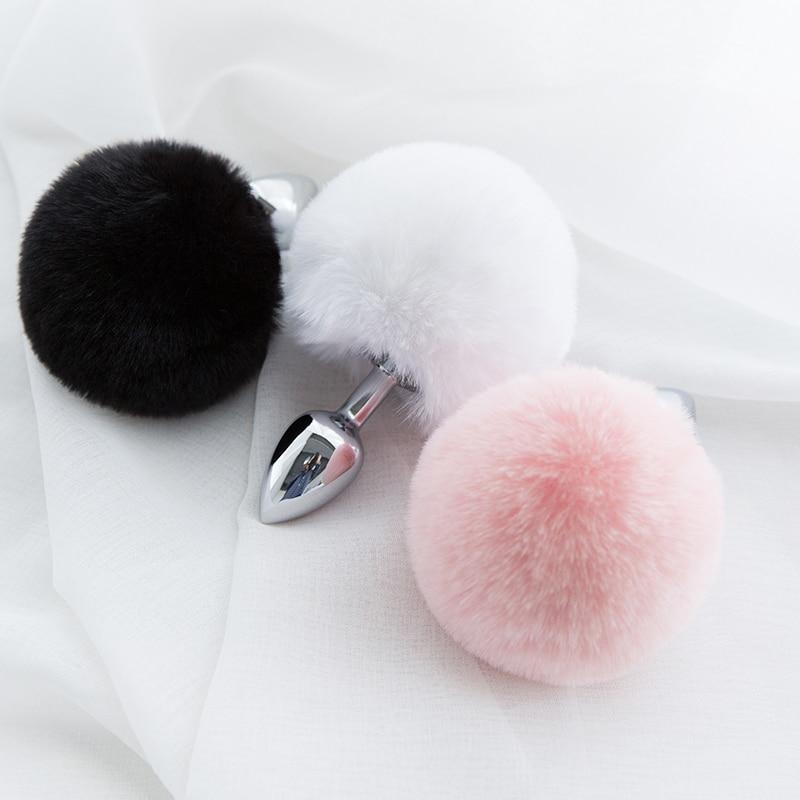 Ментальный плюшевый шарик с кроличьим хвостом Анальная пробка из нержавеющей стали массажер простаты Анальная пробка БДСМ интимные игрушки для женщин секс игра для взрослых