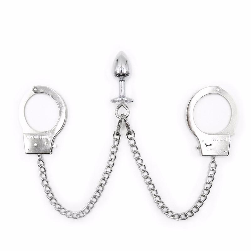 Металлический заглушка для хвоста наручники Анальная заглушка рабыня БДСМ женские Наручники Фетиш связывание ограничения секс игрушки для мужчин гей товары для взрослых