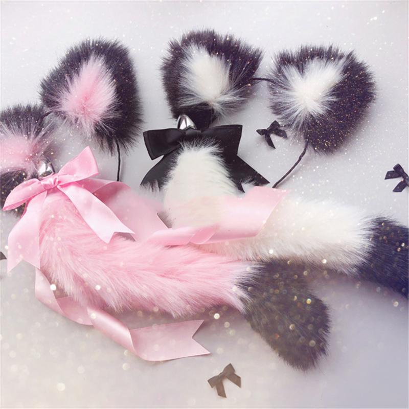 Милые мягкие ободки с кошачьими ушками с лисьим хвостом и бантом, металлическая Анальная пробка, эротические аксессуары для косплея, секс игрушки для взрослых для пар