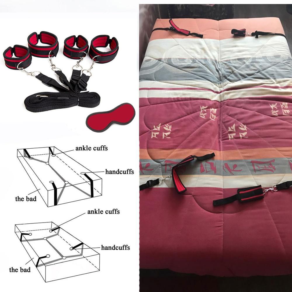 Под Кровать удерживающая система раб игры БДСМ Связывание ремень веревка эротические запястья и лодыжки манжеты взрослые секс игрушки наручники с маской