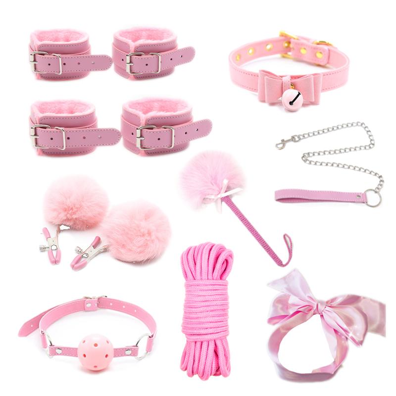 Высокое качество интимные игрушки для женщин БДСМ секс бандаж набор наручники соска зажимы кляп кнут Веревка взрослые игры интимные товары для пар