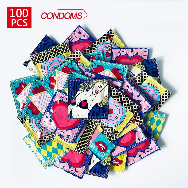 100 шт/презервативы размера плюс лубрикант для пениса латексные презервативы разных сортов для мужчин секс игрушка продукт презервативы оптом для пар