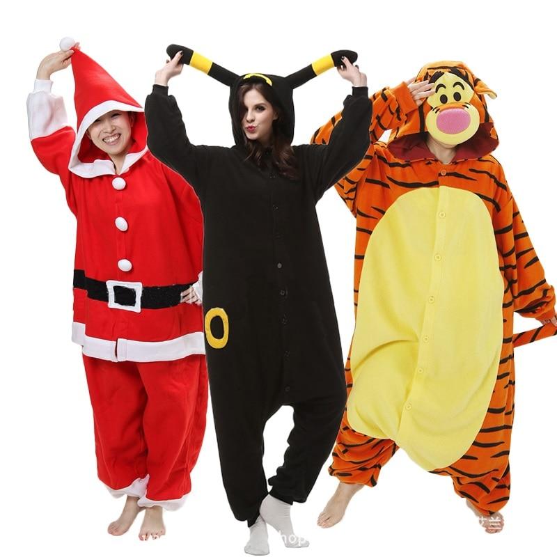 Кигуруми Пижама в виде животного для взрослых, высокое качество, флис, панда, тигр, женский комбинезон для сна, косплей, зимняя Пижама, комбинезоны, пижамы