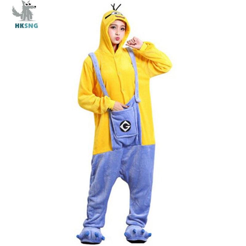 Комбинезоны с миньонами для взрослых HKSNG, фланелевые пижамные комплекты для всей семьи с героями мультфильмов для Хэллоуина