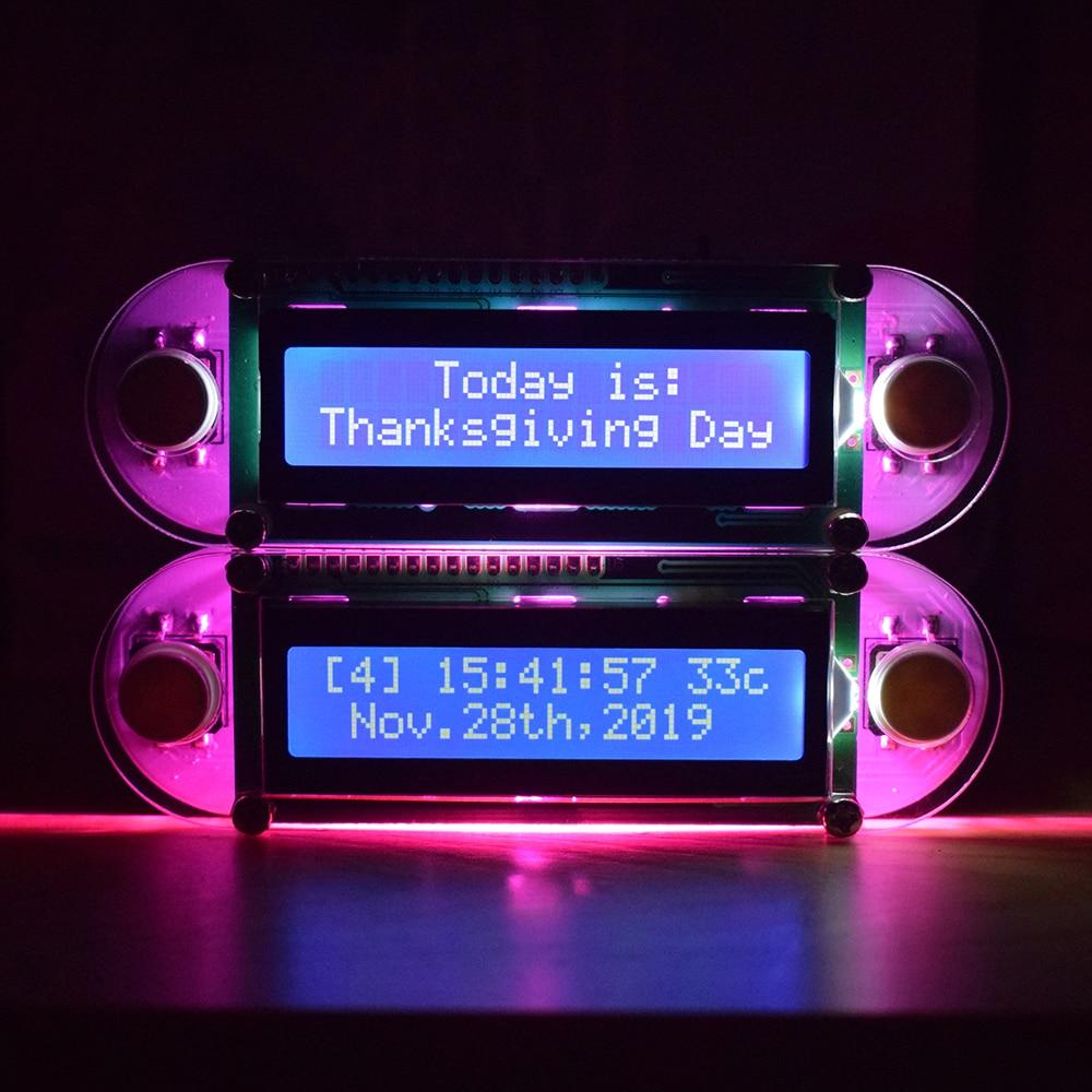 LCD1602 часы с вибрацией DIY Kit эффект свечей DIY электронные цифровые часы набор с ярко розовым светодиодный для любителей DIY