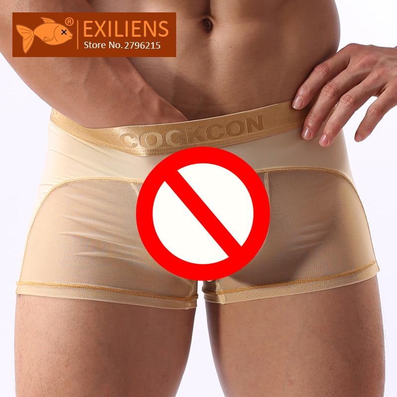 Нижнее белье [EXILIENS], хит продаж, мужские прозрачные трусы боксеры Cueca, мужские однотонные трусы, брендовые боксеры для геев, размер M XXL