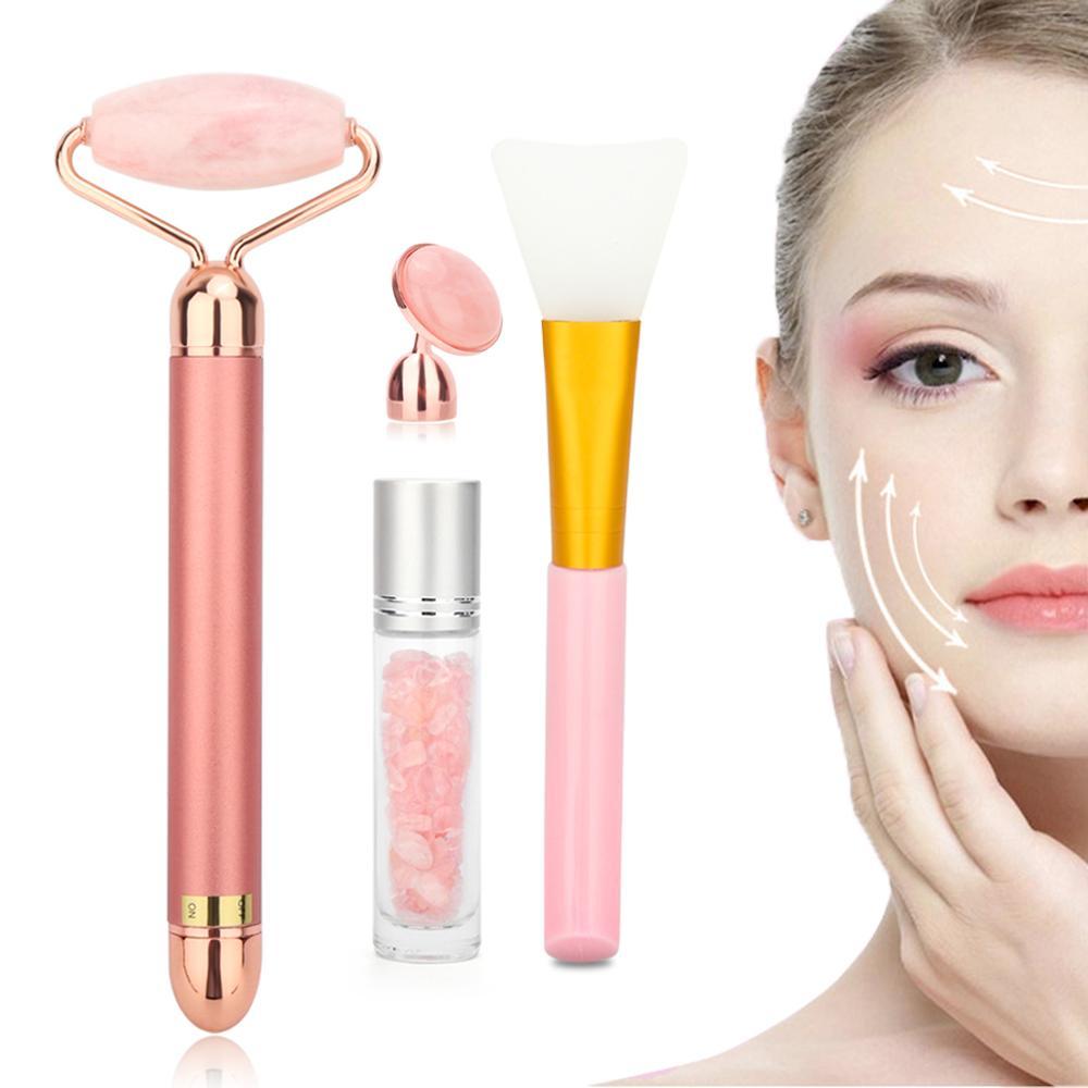 Розовый Электрический нефритовый роликовый Набор для лица, вибрирующий ролик для массажа лица, лифтинг, подтяжка кожи, средство для ухода за лицом от морщин