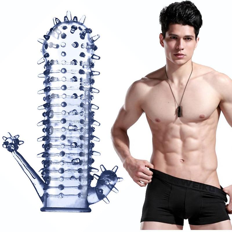 Секс игрушки для мужчин многоразовые презервативы шипы ребрышки петух кольца вагинальный клиторальный стимулятор в форме пениса увеличители удлиняющий рукав удлинитель