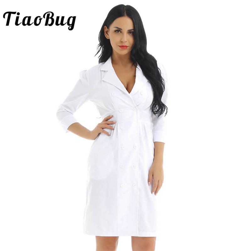 TiaoBug Женское пальто для взрослых, костюм доктора, воротник с отворотом, длина до колена, белая тонкая пикантная форма медсестры, платье