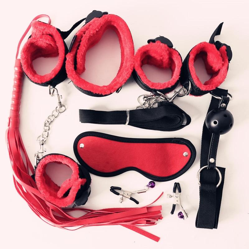 7 шт., нейлоновые и плюшевые эротические интимные игрушки для взрослых, черные/красные/розовые/фиолетовые наручники, плетка, кляп для рта, комплект БДСМ бондажа