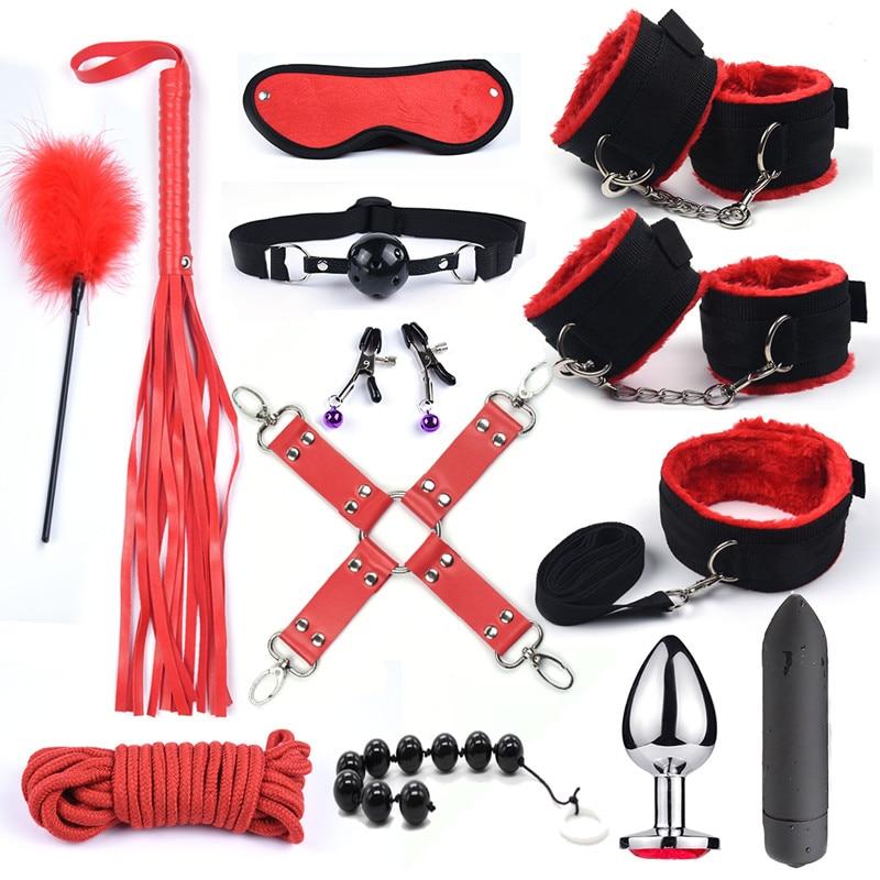 БДСМ 10 скоростей, вибратор, набор для бондажа, металлическая Анальная пробка, интимные игрушки для женщин, мужские наручники, секс, зажимы для сосков, плетка для шлеков, веревка