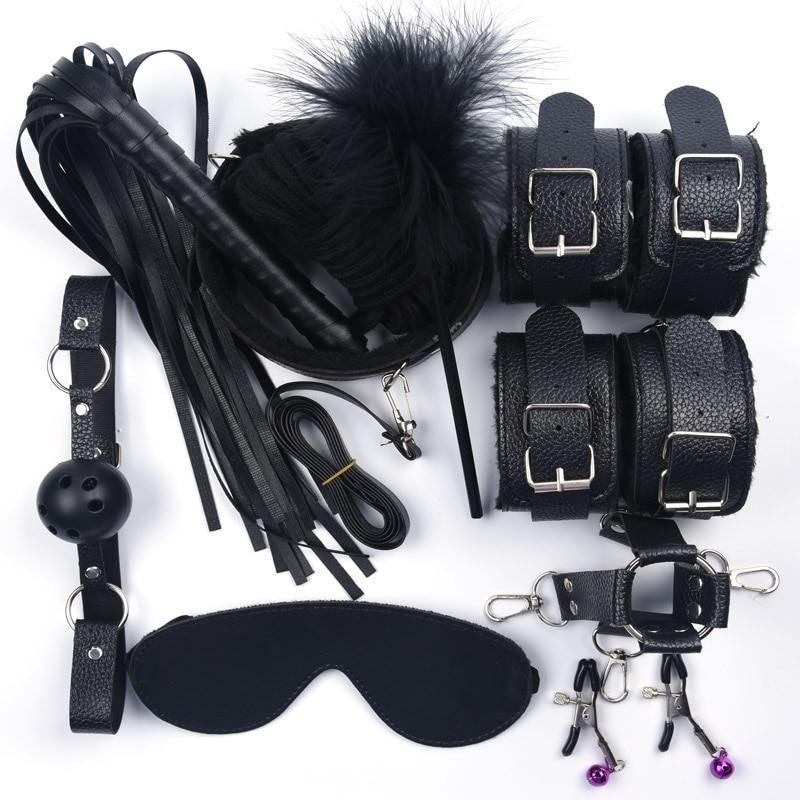 Интимные игрушки для женщин, игрушки для женщин, кожаные с плюшевыми наручниками, плетка, зажимы для сосков, набор для бондажа, игры для взрослых