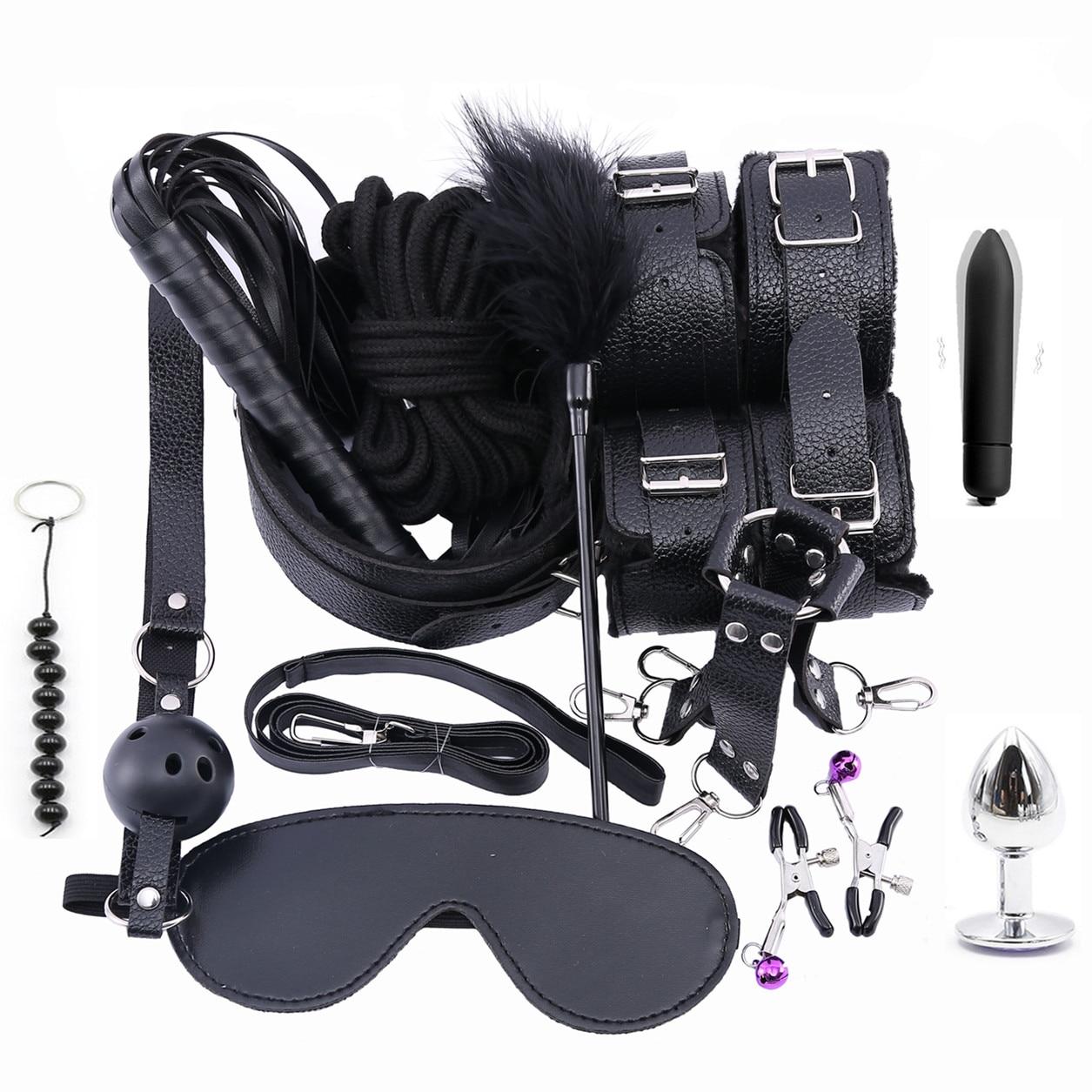 Набор из 13 предметов, стимуляция связывания, кожаные, плюшевые, БДСМ, наручники, кнут, металлическая Анальная пробка, эротические секс игрушки для взрослых пар
