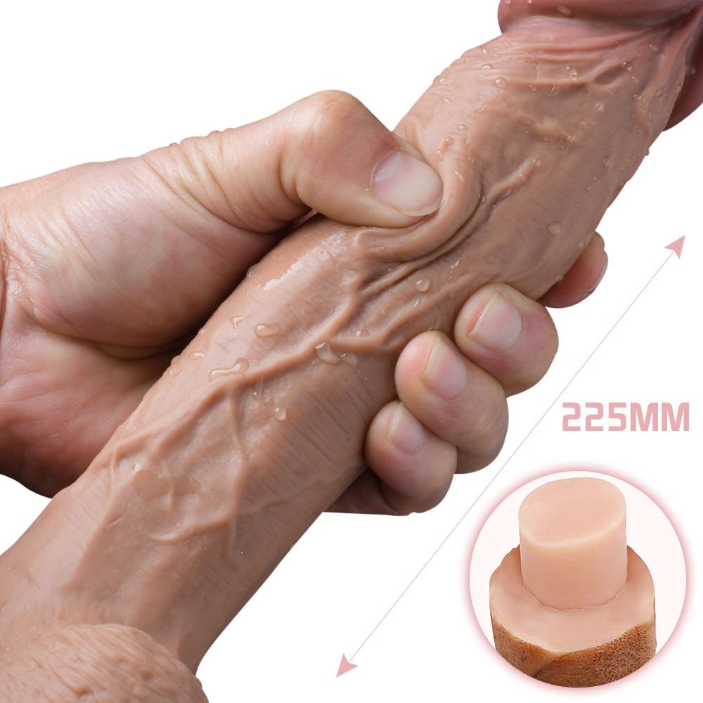 Огромный двойной слой Iiquid силиконовый фаллоимитатор мягкий реалистичный пенис Вагина Стимулятор точки G мощная присоска секс игрушки для женщин