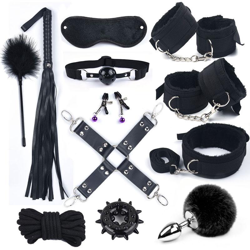 Секс игрушки для женщин, набор БДСМ, металлическая Анальная пробка, хвост, нейлоновые наручники, игры для взрослых