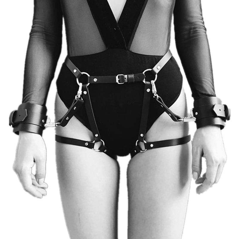 Сексуальные кожаные пояса для подвязки, регулируемый пояс для подвязки, наручники для секса, БДСМ, бондаж, карнавальный костюм, эротические аксессуары