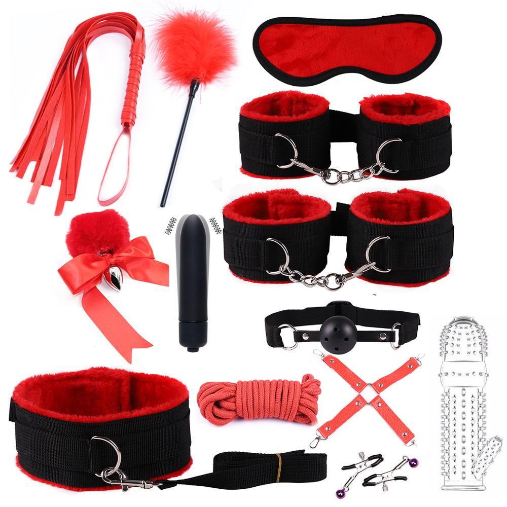 Нейлоновый БДСМ секс бандаж набор наручники зажимы для сосков воротник кляп плетка Веревка хвост Анальная пробка вибратор пары интимные игрушки для взрослых