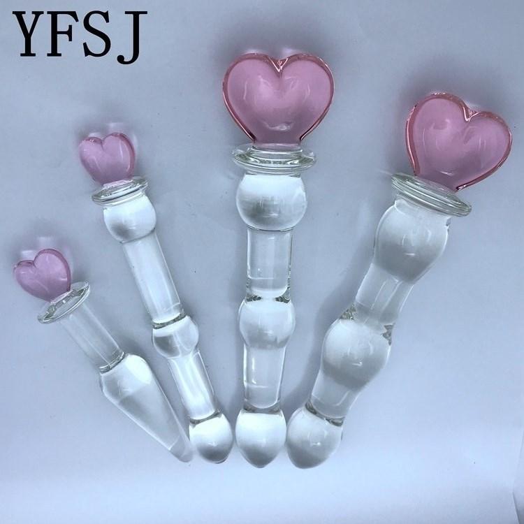 S M L розовое сердце стеклянный фаллоимитатор Pyrex искусственный пенис анальные шарики шар Анальная пробка кристалл взрослая секс игрушка для женщин мужчин геев