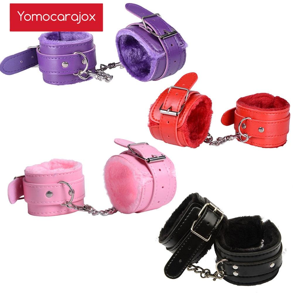 Сексуальные регулируемые наручники Yomocarajox из искусственной кожи, плюшевые наручники, манжеты на лодыжку для БДСМ, ограничители, экзотические аксессуары, игры для взрослых