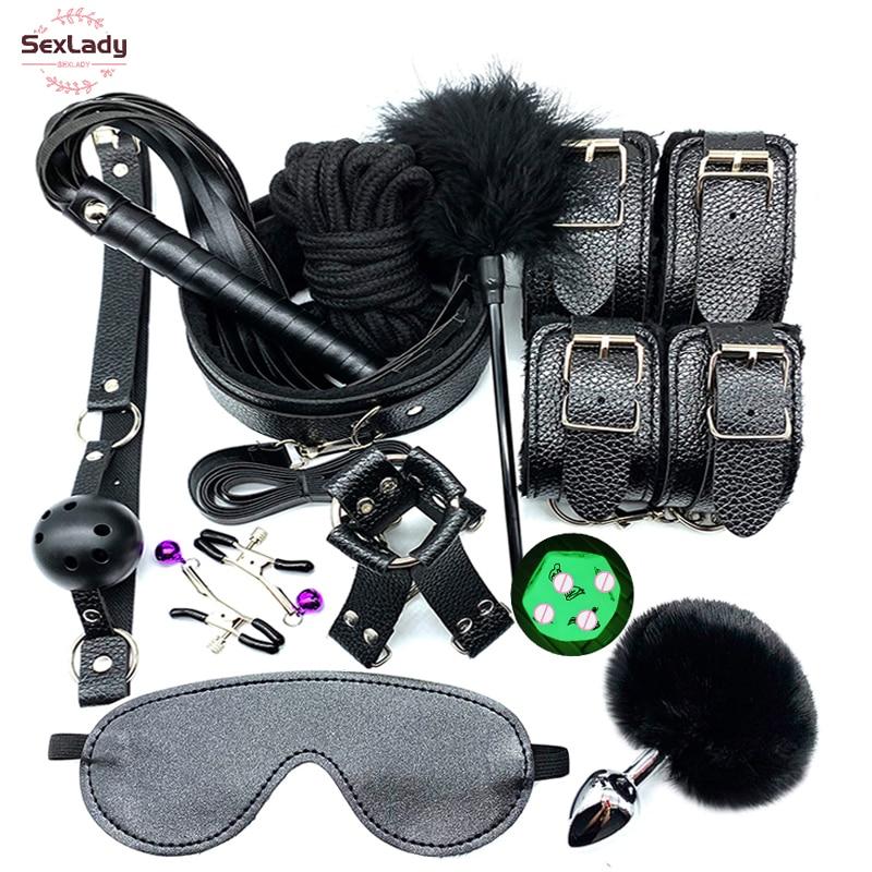 SexLady Секс наручники плетёный Ошейник Кляп соски зажимы веревка БДСМ Связывание набор Эротические Секс игрушки для пар женщин Анальная пробка хвост